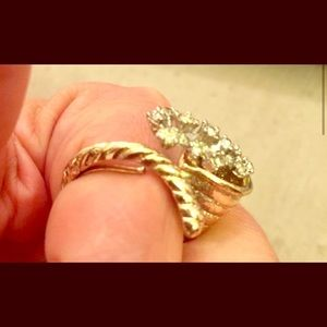 Adjustable Gold tone Waterfall Ring